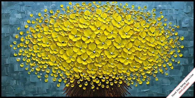 tranh 3d bo hoa cuc vang treo phong ngu dep