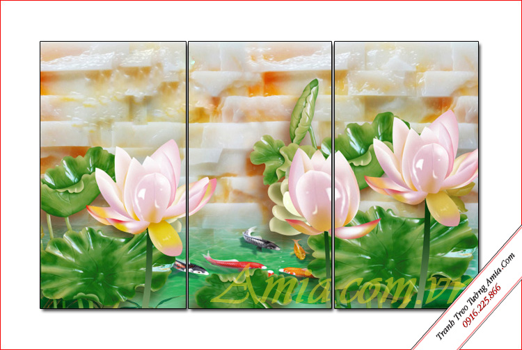 tranh 3d treo phong khach hoa sen da nghe thuat