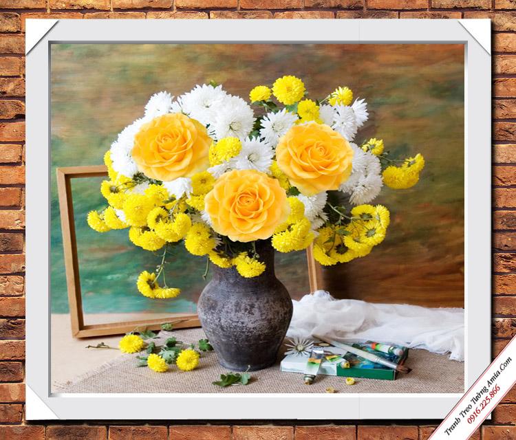tranh binh hoa hong van phu quy phong ngu