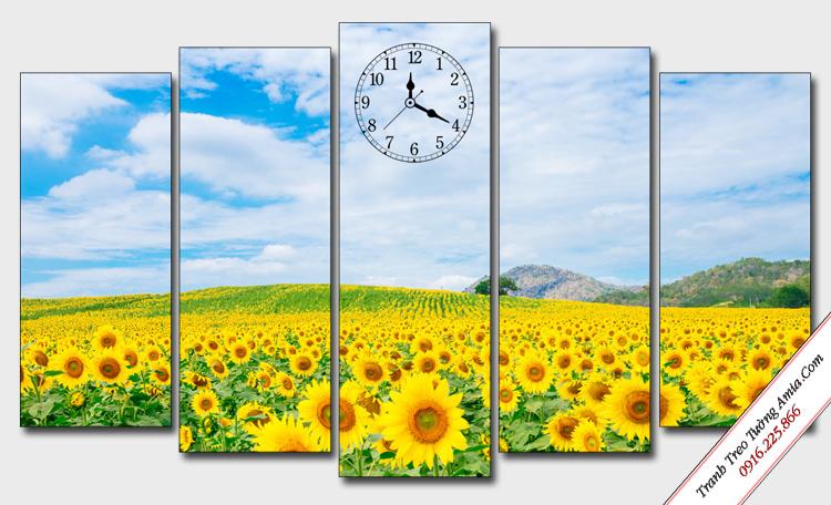 tranh trang tri phong canh canh dong hoa huong duong