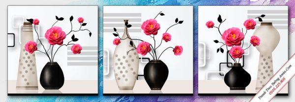 tranh phong ngu 3d binh hoa hong nghe thuat ghep bo