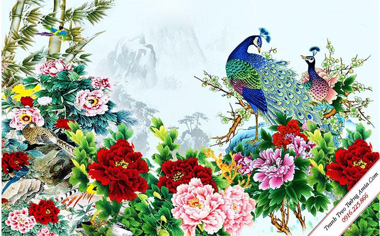 tranh phong ngu treo tuong chim cong va hoa mau don
