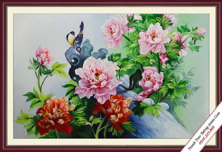 tranh son dau treo phong ngu doi chim va hoa mau don