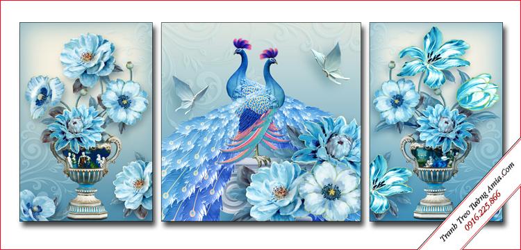 tranh trang tri chim cong xanh cho phong ngu