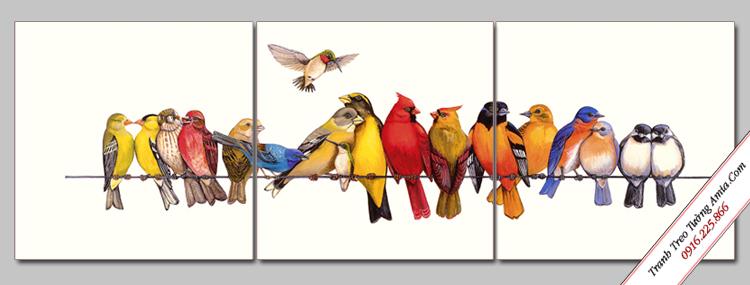 tranh trang tri gia dinh chim tao khong gian am cung