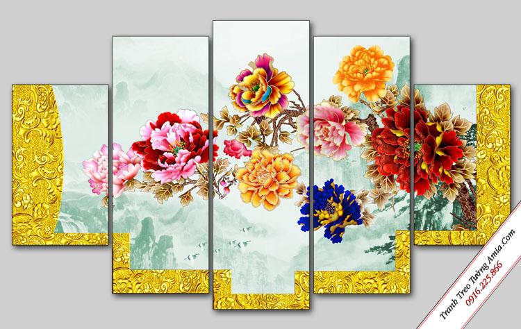 tranh trang tri hoa mau don treo tuong phong ngu
