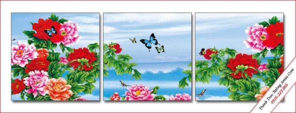 tranh trang tri phong ngu hoa mau don