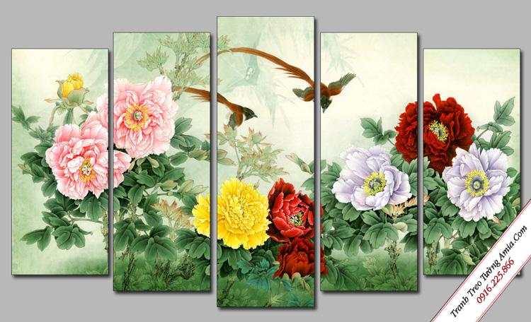 tranh treo phong ngu dep doi chim va hoa mau don