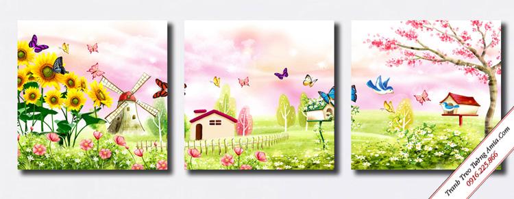 tranh trang tri phong ngu vuon hoa than tien