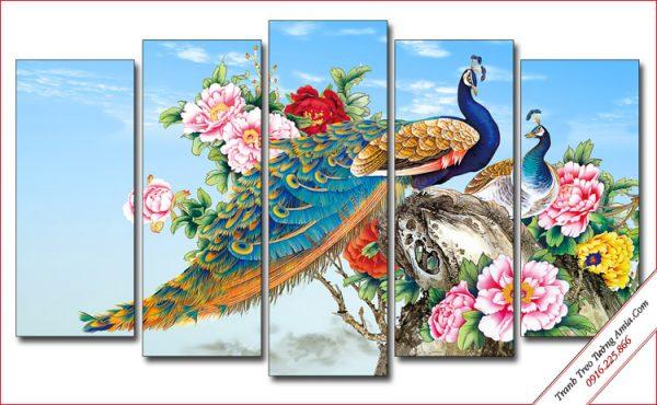 tranh treo tuong chim cong va hoa mau don trang tri phong ngu