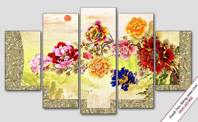 tranh hoa mau don treo tuong phong thuy
