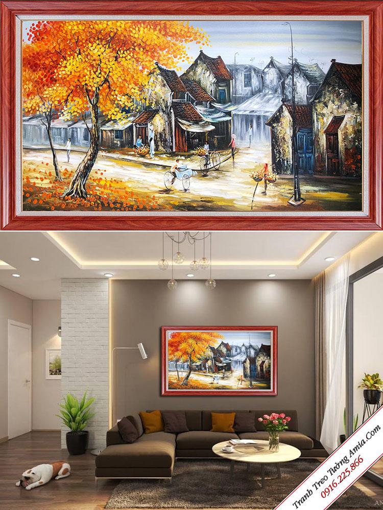 tranh ve son dau pho co mua thu treo tuong phong khach