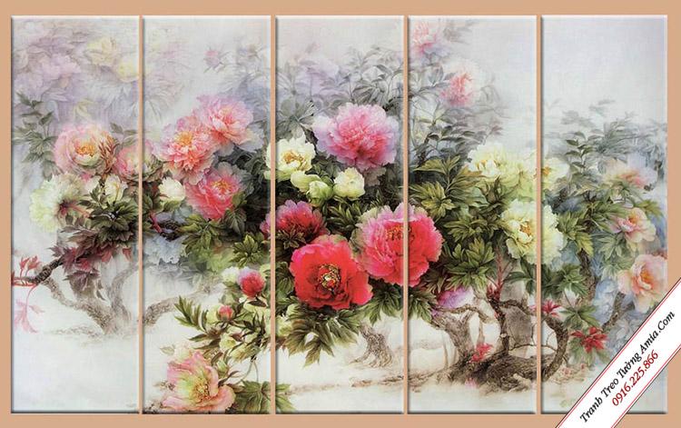 tranh canvas treo tuong hoa mau don
