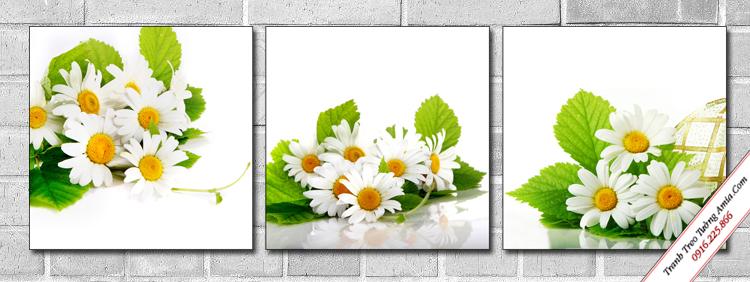 tranh trang tri cau thang hoa cuc trang