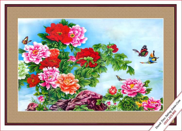 tranh trang tri hoa mau don phong thuy in canvas