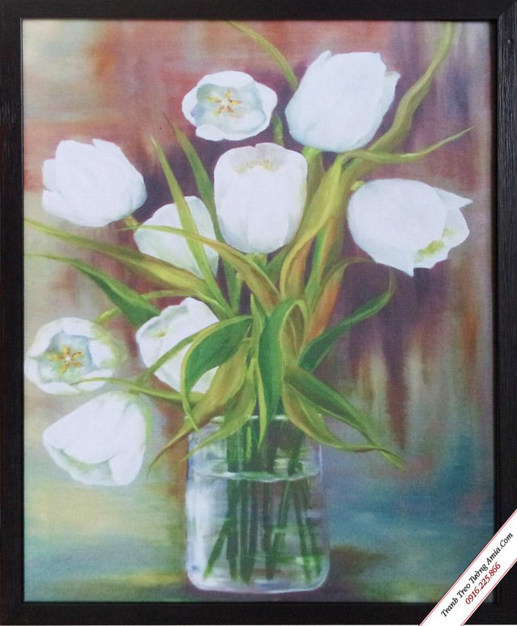 khung tranh canvas binh hoa trang dep
