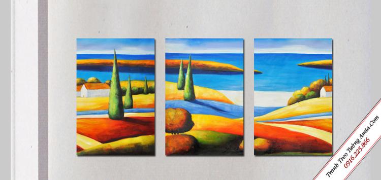 tranh canvas nghe thuat phong canh nui doi sac mau