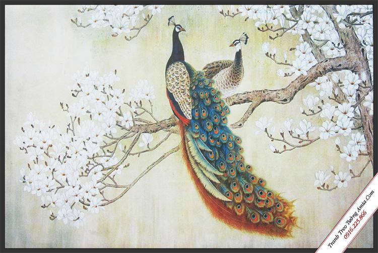 tranh canvas treo tuong doi chim cong tren nhanh mai trang