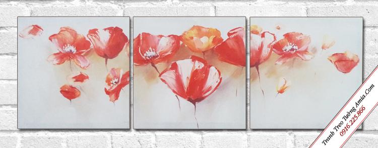 tranh canvas treo tuong hoa popy bo 3 tam