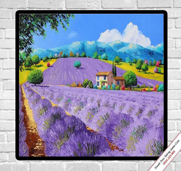 tranh canvas treo tuong phong canh dong hoa oai huong tim