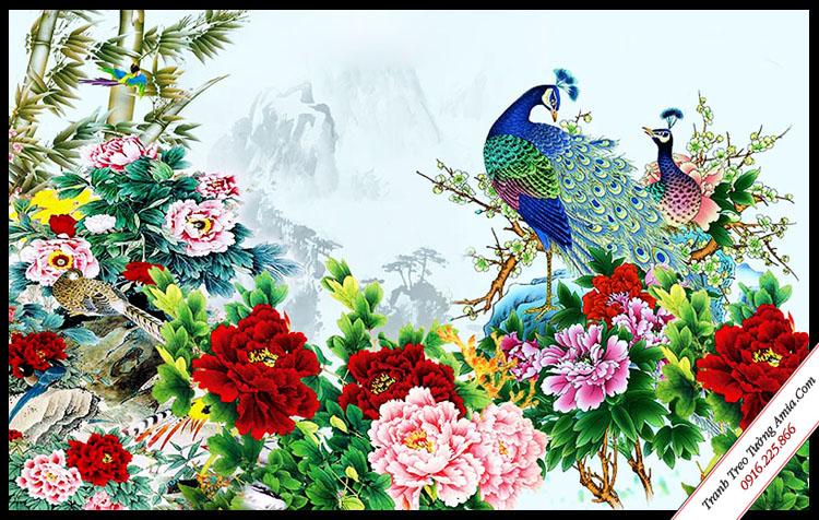 tranh doi chim cong va hoa mau don treo tuong in canvas