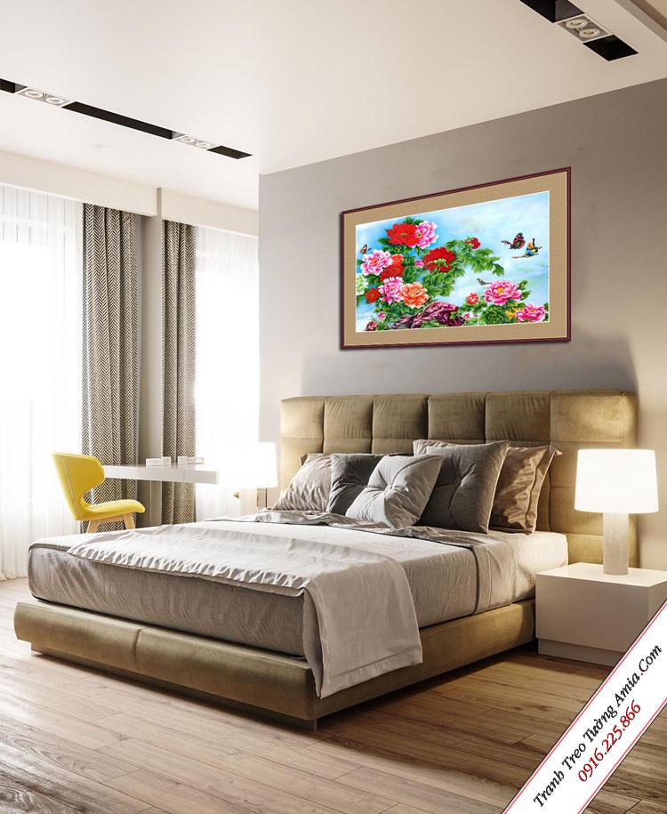 tranh hoa mau don treo tuong phong ngu in vai canvas