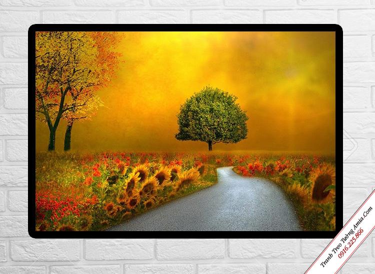 tranh phong canh con duong hoa huong duong treo tuong in canvas