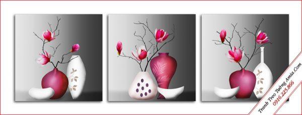 tranh phong thuy treo cau thang binh hoa moc lan