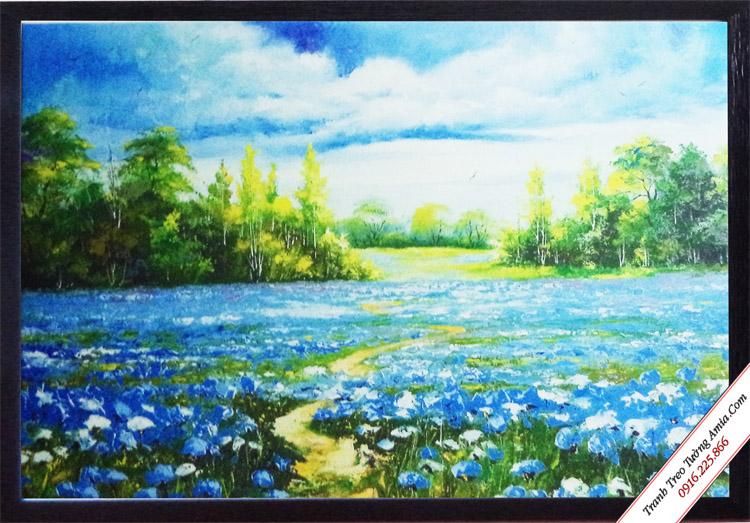 tranh trang tri phong canh hoa xanh in vai canvas