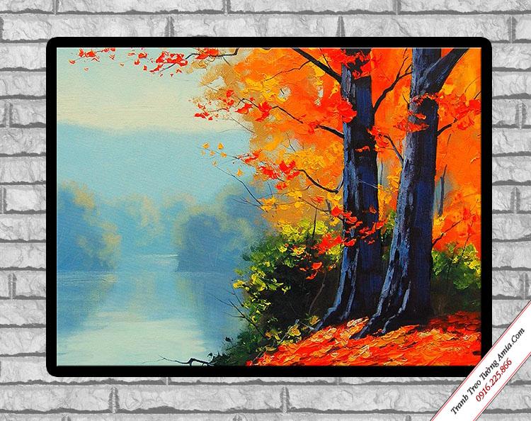 tranh trang tri in canvas phong canh mua thu la do