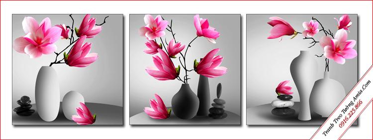 tranh treo cau thang binh hoa moc lan