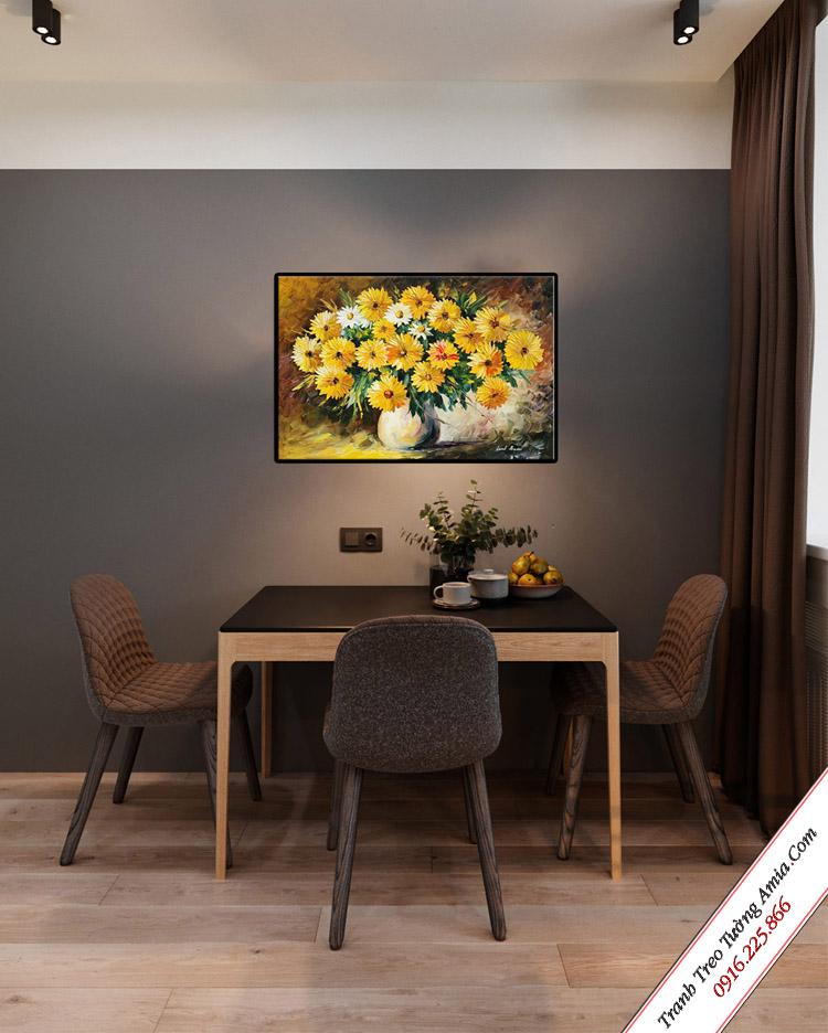 tranh treo tuong phong an in canvas binh hoa cuc vang