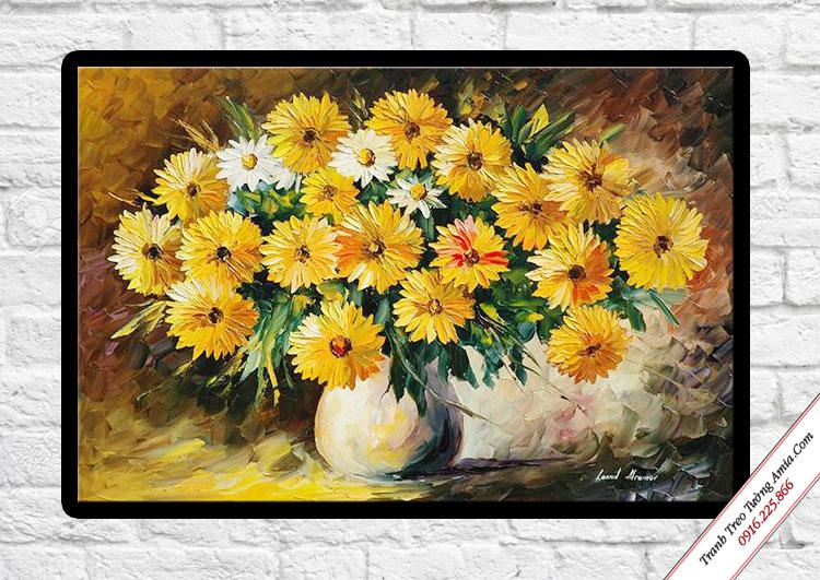 tranh treo tuong binh hoa cuc in vai canvas dep