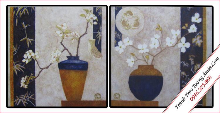 tranh treo tuong binh hoa mai trang in canvas