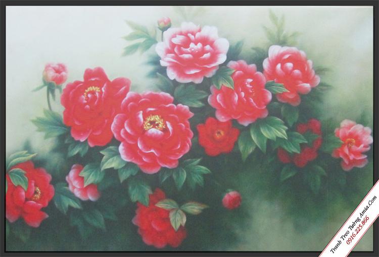 tranh canvas treo tuong hoa hong do dep