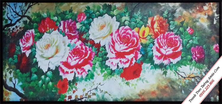 tranh treo tuong dep hoa hong in canvas