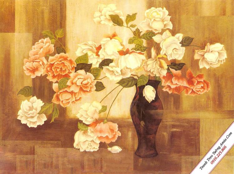 tranh treo tuong binh hoa hong co dien in canvas