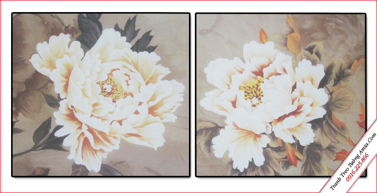 tranh treo tuong song hoa mau don in vai canvas