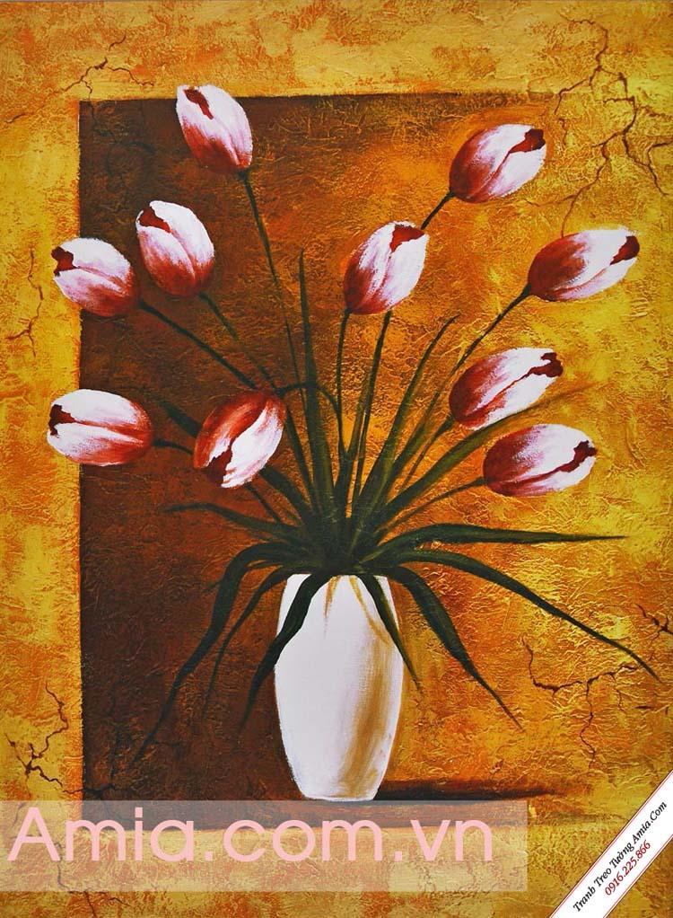 tranh vai canvas binh hoa dep mang phong cach co dien