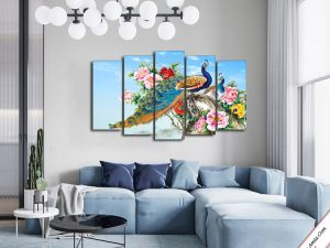 tranh trang tri doi chim cong va hoa mau don