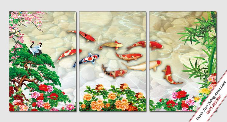 tranh treo tuong ca chep va hoa mau don