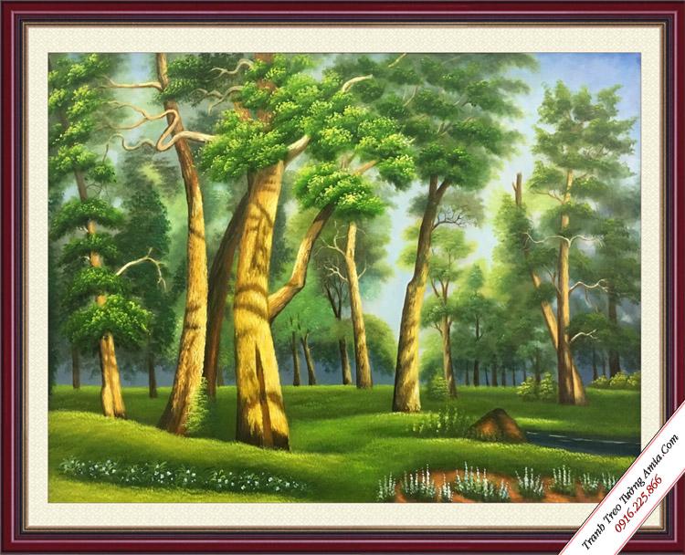tranh phong canh hang cay xanh ve son dau