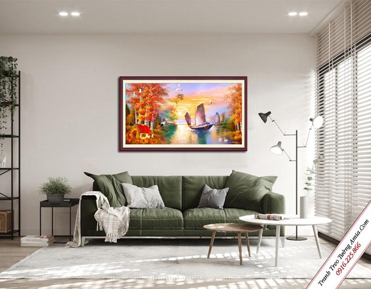 tranh treo tuong thuyen buom mua thu