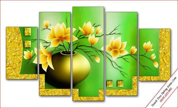 tranh binh hoa sen dat in gia 3d treo tuong ghep bo