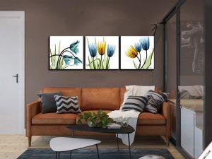 tranh trang tri phong khach hoa tulip phong cach xray