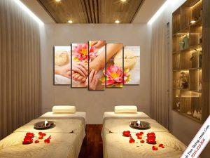 tranh trang tri spa dep massage doi ban chan