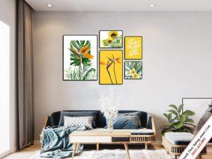 tranh treo phong khach cay va hoa phong cach scandianvian