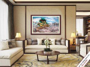 tranh treo phong khach lau dai himeji nhat ban