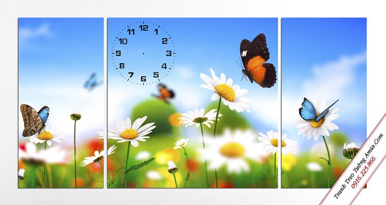 tranh treo phong ngu tre em vuon hoa cuc va nhung canh buom