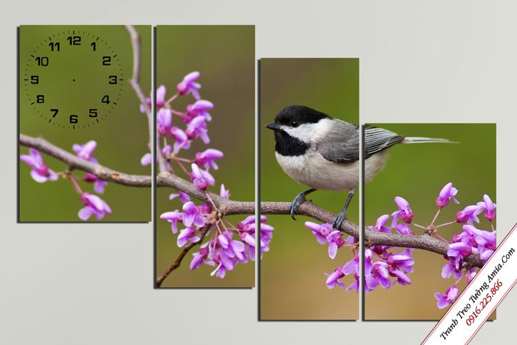 tranh treo tuong cho be chim tren nhanh hoa tim